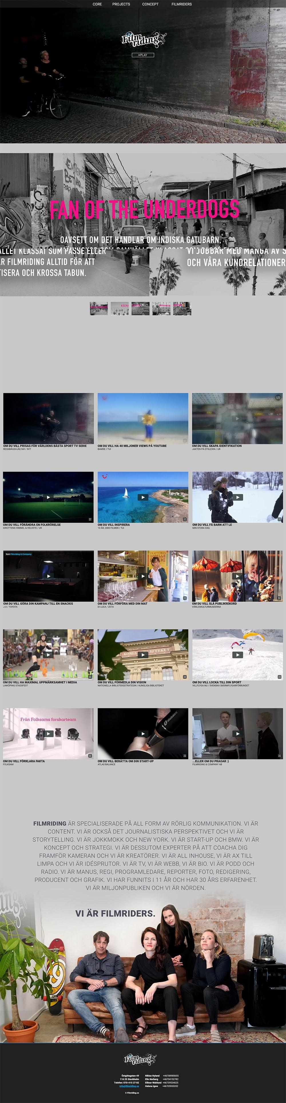 filmriding ny webbplats av webbyrå i stockholm